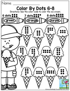 Color By Dots- Simple counting activity to enforce number correspondence. There are plenty of other fun math and literacy activities to keep your preschoolers happy to learn in the Summer Review NO PREP Packets!