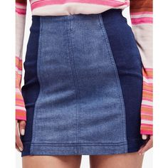 Free People Colorblocked Denim Mini Skirt ($50) ❤ liked on Polyvore featuring skirts, mini skirts, dark blue, fitted mini skirt, dark blue skirt, fitted skirt, blue mini skirt and denim skirt