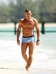 Daniel Craig - few men can pull off looking good in this style of bathing suit, and he certainly does.