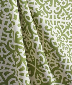 Elegant green and white Outdoor fabric. Waverly Parterre Sun N Shade Grass Fabric $9.80 per yard