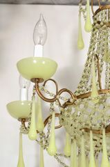 Stunning Murano Glass Clambroth 6 light Chandelier beaded with lattice work. I want this for my bedroom. The color! Drool!!