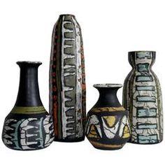 Grouping of Four Ceramic Vases by Livia Gorka - Hungary, circa 1950 Earthenware, Stoneware, Pottery Vase, Ceramic Vase, Vases Decor, Art Pages, Vintage Ceramic, Decorative Objects, Modern