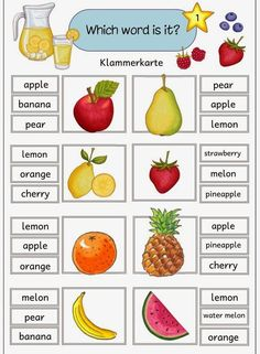 Five staple cards with English fruit terms With these five staple cards . English Activities For Kids, Learning English For Kids, English Games, English Lessons For Kids, Kids English, Teaching English, Learn English, Numbers Preschool, Preschool Worksheets
