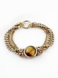Brown Gemstone Gold Multilayer Bead Chain Bracelet US$7.67