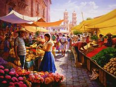 Colores del Mercado, Alfredo Rodriguez Alfredo Rodriguez artist - born and raised in México. A professional artist since 1968 his Western art, is breathtaking.