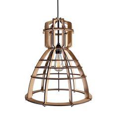 Industriele lamp in een houten jasje