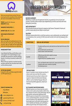 7 Best Investor One Pager Images Business Planning Executive