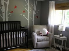 example of espresso crib with white tree