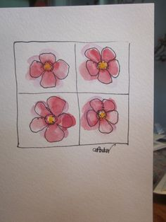 Pink Blooms Squared Watercolor Card. $3.50, via Etsy.