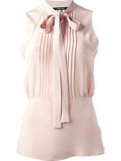 Designer Clothes, Shoes & Bags for Women Bow Shirts, Shirt Blouses, Pink Shirts, Banded Collar Shirts, Pleated Shirt, Bow Blouse, Collar Blouse, Over 50 Womens Fashion, Work Attire