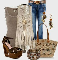 love the crocheted, fringed vest! good casual look