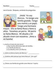 Language Arts unit on the family in Spanish (La familia en español) Family In Spanish, Learning Spanish For Kids, Spanish Language Learning, Teaching Spanish, Language Arts, Spanish Worksheets, Spanish Vocabulary, Spanish Classroom Activities, Educational Activities