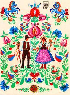~Folklore prent met bloemen~