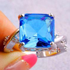 New Fashion Jewelry Blue White Gemstone Silver Ring US Size 6 7 8 9 10 Women…