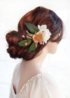 floral hair clip, bridal headpiece, bridal hair clip flower, wedding hair comb, fall wedding, rustic wedding, peach coral eggplant burgundy