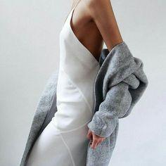 Minimalist white dress and grey cardigan
