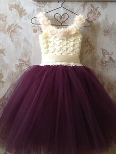 Your little princess will feel like one in this plum and ivory tutu dress. Perfect for a flower girl or party. I crochet the top of the dress with soft