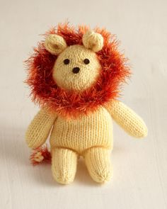 "Welcome any month ""in like a lion"" with this adorable toy lion! Knit your king of the jungle in these coordinated shades or in any colors of your choosing."