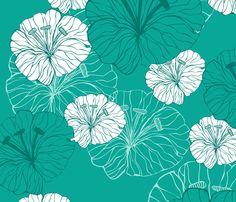 blue_flowers fabric by valentinaharper on Spoonflower - custom fabric