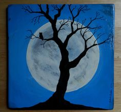 Original Painting on Wood An Owl and Tree by BugsHouseCreations