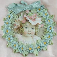 ANTIQUE Ribbonwork Ribbon Flowers Rose Buds Rosettes Picture Photo Frame Unique Round Surrounded by Ribbon Rosettes