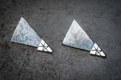 Boucles d'oreilles argent sterling/triangle/oxydé par EBjoailliere