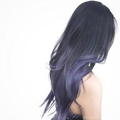 Pin od ala lisecka na włosy hair color asian, silver blue hair i blue ste. Hair Color Purple, Hair Dye Colors, Purple Ombre, Violet Ombre, Violet Hair, Lilac Hair, Asian Hair, Asian Ombre Hair, Aesthetic Hair
