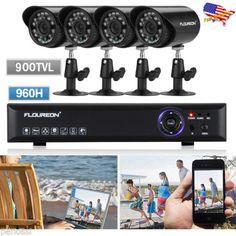 4CH-960H-ONVIF-DVR-NVR-Outdoor-900TVL-IR-Camera-HDMI-CCTV-Security-System-Kit-US