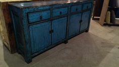 """Our Latest Arrivals Will Leave You Breathless. This brushed light blue buffet offers plenty of storage flexibility with four drawers and two cabinets. This piece is a stunning combination and form and feature. 34"""" H, 72"""" W, 15"""" D-$1495"""