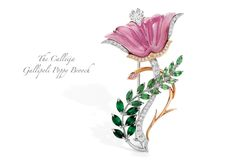 """A 16.84 Pink Tourmaline, Green Tsavorite leaves, heart-shaped White Diamond and a rare Argyle Pink Diamond, all set in Platinum & Rose Gold, make the """"Gallipoli Poppy Brooch"""". Valued at $52,000, this exquisite creation has been donated by Calleija to the Gallipoli Medical Research Foundation for an international auction raising much-needed funds for Post Traumatic Stress Disorder. Show your ANZAC spirit by making a donation, or bid on some of the 50 auction pieces at: www.galabid.com/GMRF"""