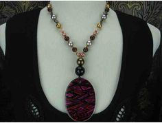 """1/Kind Awesome Necklace:""""Pink Diamonds"""" Art Pendant w/South Sea Shell & Freshwater Pearls!"""