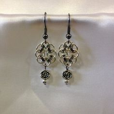 Flower Chain Maille Earrings with Metal Rose Beads by AuntieBeths, $10.75