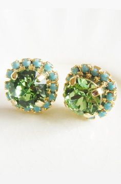 Lovely Clusters - Beautiful Shops: Skyler Peridot Green + Turquoise Blue Stud Earrings