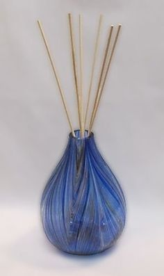 """Kitras ~ WINTER SOLSTICE ~ Reed Diffuser - Hand Blown Art Glass - for Scented Oil Fragrances - includes Reeds -6"""" High- TT-DIF-WS by Kitras Art Glass. $48.95. Diffuser approximately 4-1/4"""" in diameter & 6"""" high. Proudly made in North America. Includes ten 12"""" reeds. Comes in attractive gift box. Hand-Blown Art Glass Reed Diffuser. You don't need incense, scented candles or candle-heated diffusers. Reed diffusers are a great alternative, and are absolutely flame-free, so no..."""