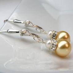 Yellow Pearl Earrings Swarovski Rhinestone Handmade by fineheart, $18.00