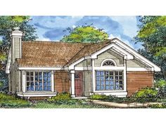New American Style 1 story 3 bedrooms(s) House Plan with 1180 total square feet and 2 Full Bathroom(s) from Dream Home Source House Plans