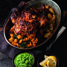 Tikka Roast Chicken with Sag Aloo and Green Chutney - Woman And Home