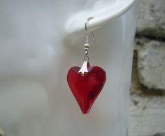 Red Crystal Heart EarringsRed EarringsRed Jewellery Red by jigwe