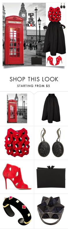 """""""Red is the New Black"""" by shoecraycray ❤ liked on Polyvore featuring Naeem Khan, Junya Watanabe Comme des Garçons, Aperlaï, Chanel and John Brevard"""