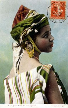Africa | Young girl from the south. Algeria. Post stamped 1909 || Scanned postcard; publisher J. Geiser.