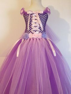 Tutu Dress Rapunzel Costume Full Length Baby Girls Toddler Halloween Costume Purple Pink Princess Inspired by American Blossoms AWESOME TUTU DRESSES: