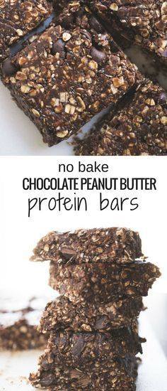 you've got 10 minutes you've got enough time to make these No Bake Chocolate Peanut Butter Protein Bars!If you've got 10 minutes you've got enough time to make these No Bake Chocolate Peanut Butter Protein Bars! Diy Protein Bars, Peanut Butter Protein Bars, Healthy Protein Snacks, Protein Bar Recipes, Healthy Bars, Protein Powder Recipes, Protein Bites, Healthy Sweets, Chocolate Peanut Butter