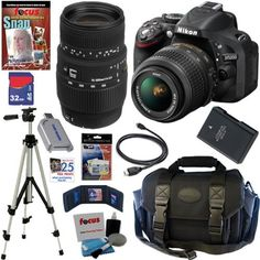 Nikon D5200 24.1 MP CMOS Digital SLR Camera (Black) with 18-55mm f/3.5-5.6G AF-S DX VR Lens and Sigma 70-300mm f/4-5.6 SLD DG Macro Lens with built in motor + 10pc Bundle 32GB Deluxe Accessory Kit by Nikon. $1129.95. The Nikon D5200 Digital SLR Camera is the ideal companion for unleashing your creative potential. With a 24.1 megapixel CMOS DX-format image sensor, full 1080p HD movies, precise 39-point AF system, EXPEED 3 image processing, and standard ISO up to 6400, it of...