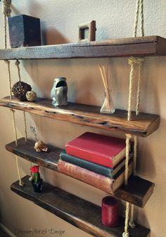 Hanging Wall Shelves Shelf Reclaimed Barn Wood by FerreroArtDesign