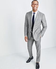 J.Crew men's Ludlow suit, Thomas Mason® for J.Crew Ludlow shirt in royal oxford cotton, English silk tie in multifloral, cotton pocket square in gingham, Ludlow balmoral cap-toe shoes.