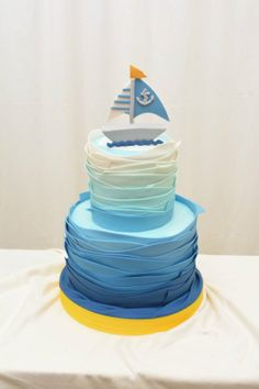 Beautiful Ombre Cake Ideas For All Occasions #Sailboat #Blue ombre #Baby shower