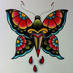 traditional butterfly tattoo | Tattoo Flash | Pinterest