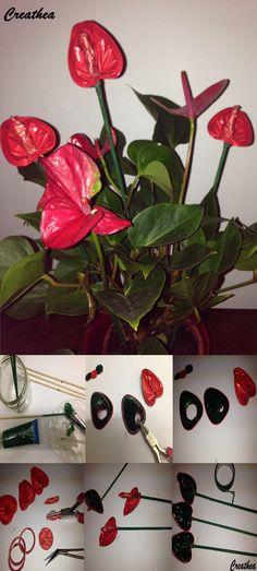 Capsule da tè e Nespresso:Anthuria Hobbies And Crafts, Deco, Sheet Metal, The Creation, Plants, Nylon Flowers, Recycling, Home Ideas, Bricolage