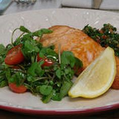 Crisp Salmon with Green Herb and Caper Sauce Recipe with flat leaf ...