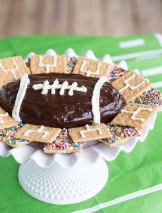 Try this delicious football s'mores brownie batter dip for the big game!